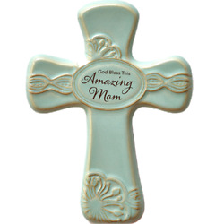 Gift for Mom Ceramic Cross Wall Hanging Antique Finish God Bless This Amazing $20.56