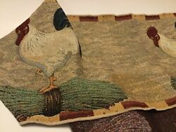 Tapestry Table runner 78 X 13 Country Kitchen Roosters Tassel J. Wiens $24.99