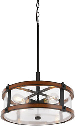 4 Lights Drum Chandelier Round Farmhouse Rustic Chandelier Lighting with Glass $61.89
