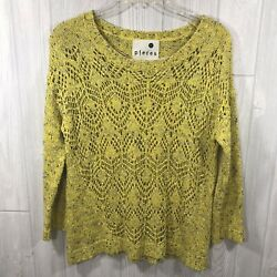Pieces Kensie Yellow Black Large Knit Crew Long Sleeve Semi Fitted Sweater M $18.99