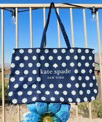 🌸 NWT Kate Spade White Daisies Extra Large Canvas Tote Shopper Navy Blue NEW $24.99