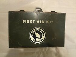 Vintage Great Northern Railway First aid Kit with a few contents. Nice $99.00