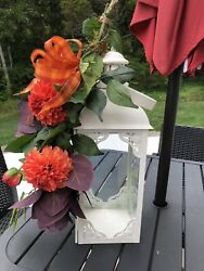 Swag Farmhouse Faux Fall colored Stems Bow Autumn Rustic lantern NOT Included $29.99