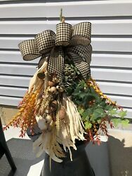 Swag Farmhouse Corn Husk Bow Fall Stems amp; Grasses Rustic lantern NOT Included $45.00