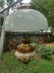 ANTIQUE HANGING OIL LAMP ELECTRIFIED $184.99