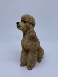 Vintage LIVING STONE 1994 Medium Brown Sitting Poodle 5quot; Tall $14.99