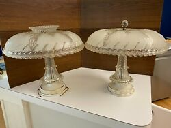 Pair of Early Vintage Hanging Ceiling Light Fixture With Frosted Glass Shade $395.00