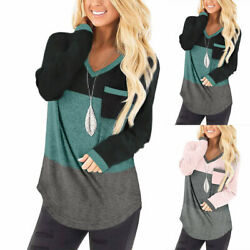 ❤️ Womens Print V Neck Long Sleeve T shirt Ladies Casual Loose Blouse Tunic Tops $19.99