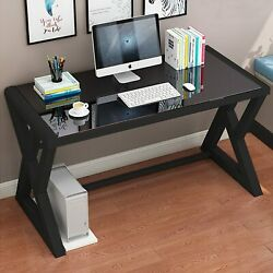 Computer Desk PC Laptop Gaming Table Study Workstation Home Office w Glass Top $99.99