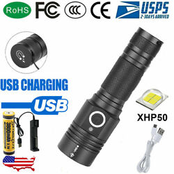 Most powerful 90000LM Flashlight On or off click Telescopic focusing Charger PT $33.16