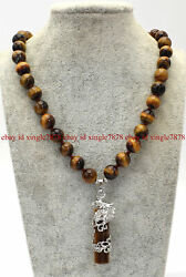 Natural 10mm Yellow Tigers Eye Gems Round Beads Cylindrical Pendant Necklace 20quot; $7.99