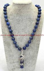 Pretty 10mm Natural Lapis Lazuli Round Gemstone Cylindrical Pendant Necklace 20quot; $10.99
