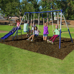 Swing Set Kids Playground Outdoor Playset Quality Comfort Heavy Duty Steel Tubes $231.70