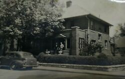Front of House Home Street View Car Automobile Original Photo Snapshot Vintage