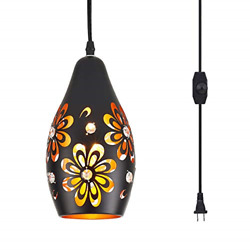 YLONG ZS Farmhouse Hanging Lights Fixtures with 16.4 FT Plug in Cord Black and $50.46