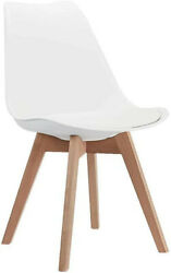 White Mid Modern Side Chair with Wood Legs for Kitchen Living Dining Room $102.00