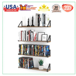 Wood Floating Shelves for Wall Rustic Wall Shelves for Living Room 24quot; CD DVD $44.99