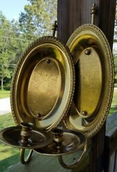 Vtg Pair Brass Wall Candle Holders Sconces Reflectors Oval Single Taper Candle $29.99