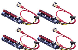 Mailiya 4 Pack PCIe Dual Chip PCI E 16x to 1x Powered Riser Adapter Card $19.99