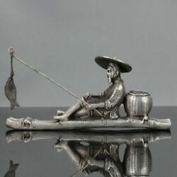 Old Chinese Tibet Silver Hand Carved Fisherman His Bamboo Raft Statue $49.99