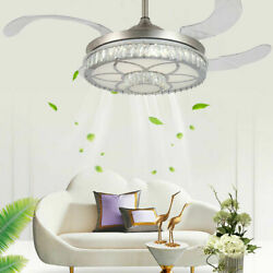 42#x27;#x27; Crystal Invisible Fan Ceiling Lamp LED Light Chandelier w Remote Control $134.00