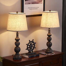 USB Farmhouse Lamp Traditional Table Lamp Set of 2 with Dual USB Ports 27.8'' $122.30
