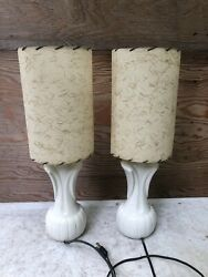 2 Vintage Mid Century Modern MCM Small Table Lamps Shades Gold Strips Bed Side $74.99