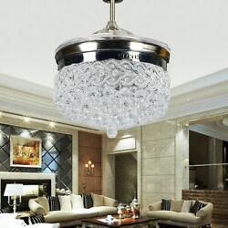 42quot; Retractable Blades Ceiling Fan Light LED Chandelier Fixtures Modern For Room $189.00