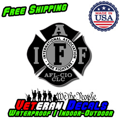 4quot; IAFF Decal Black and Silver Exterior Mount