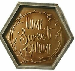 HOME SWEET HOME sign Decor Farmhouse Rustic Family Tin With Wood Trim X $28.97