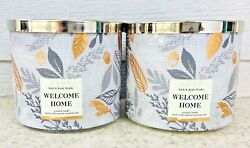2 WELCOME HOME 3 Wick Scented Candle Decorative Lid 14.5oz LOT x2 $49.50