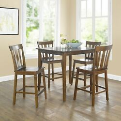 Dining Set 5 Piece Mission Counter Height Cherry Finish Kitchen Dining Modern $487.53