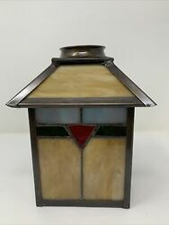 Arts amp; Crafts Leaded Slag Glass Sconce Shade Nice Reproduction $69.99