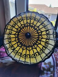 Chinese Paper and Bamboo Parasol 17quot; Wide umbrella quality made vintage $20.00