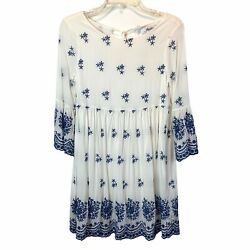 Lulu#x27;s Dress Womens Small With a Whisper White Blue Embroidered Eyelet Mini $27.97