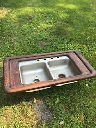 rustic country primitive colonial antique kitchen sink frame countertop insert $299.99