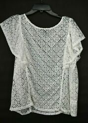 Halogen Womens White Boat Neck Solid Lace Short Flutter Sleeve Blouse Top XL $21.99