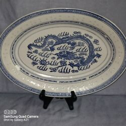 Chinese Blue amp; White Porcelain Rice Eyes with Dragon Oval Large 14quot; Platter $24.99