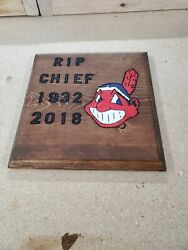 RIP Chief Wahoo Routed Painted And Stained Hanging Sign $20.00