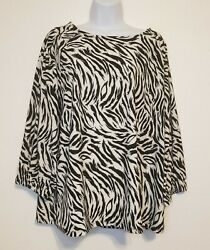 HALOGEN Women#x27;s Ivory C Black Feather Tiger Banded Sleeve Knit Blouse Top Large $14.95
