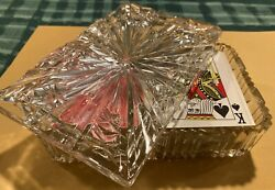 Vintage Crystal Playing Card Holder Caddy with 4 matching ashtrays $24.99