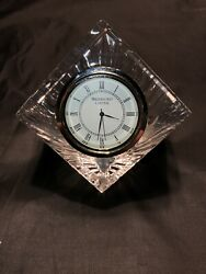Vintage Waterford Crystal Meridian Etched Desk Clock Paperweight. Needs Battery $13.50