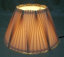 Vtg Lamp Shade Pleated Ruffle Fabric Deco Uno Fitter Floor Table Light USA #Q98 $21.99