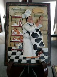 Riggsbee Fat Italian Chef 3 D Resin Wall Plaque by Dena Marie Lot 3 $18.00