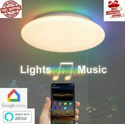 New2022 Modern Smart Ceiling Dimmable LED RGB Light Music Lamp with Alexa Google $59.99