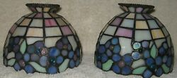 PAIR SLAG MILK GLASS STAINED GLASS FAIRY LAMP REPLACEMENT SHADES CABOCHONS $35.00