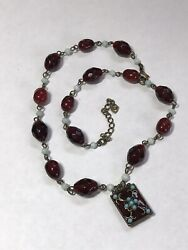 Vintage Glass or Stone Bead Necklace Faceted Blood Red Victorian Revival Enamel $22.99