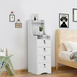 End Table Bedroom Nightstand Coffee Table 4 Drawer With Lock Cabinet $66.99