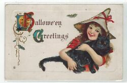 Halloween PC Vintage With Pretty Girl Holding A Black Cat $19.99