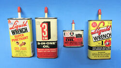 Vintage Oil Can Tin Lot 3 in 1 Oil amp; Liquid Wrench 4 oz amp; 1 oz Cars Autos $19.95